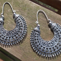 Antiqued Silver Boho Tribal Earrings With Hypoallergenic Titanium Ear Wires