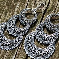 Silver Filigree Triple Crescent Earrings With Hypoallergenic Titanium Ear Wires