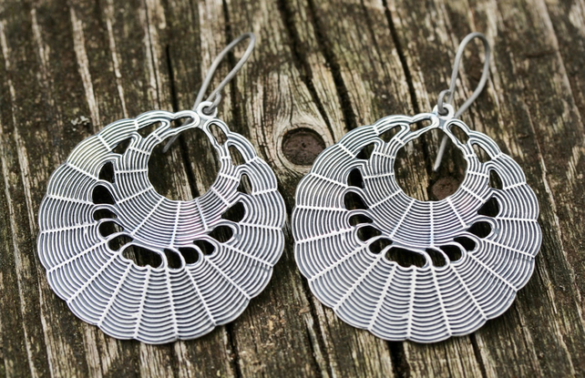Silver Spiders Web Hoop Earrings With Hypoallergenic Titanium Ear Wires
