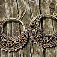 Large Antiqued Gold Brass Filigree Hoop Earrings With Gold Vermeil Ear Wires