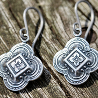 Antiqued Silver Moroccan Tile Earrings With Hypoallergenic Titanium Ear Wires