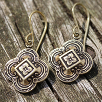 Antiqued Gold Brass Moroccan Tile Earrings With Gold Vermeil Ear Wires