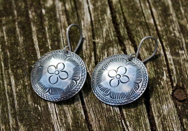 Silver Dapped Etched Floral Coin Earrings With Hypoallergenic Titanium Ear Wires