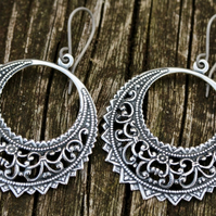 Large Silver Filigree Hoop Earrings With Hypoallergenic Titanium Ear Wires