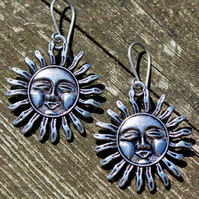 Silver Smiling Tribal Sun Earrings With Hypoallergenic Titanium Ear Wires