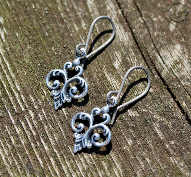 Small Silver Fleur De Lys Earrings With Hypoallergenic Titanium Ear Wires