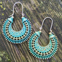 Turquoise And Moss Green Colour Washed Tribal Hypoallergenic Earrings