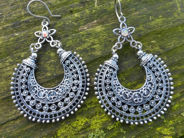 Silver Tribal Hoop Dangle Hypoallergenic Earrings With AB Rhinestone Stars