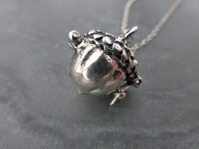 Silver Acorn Wish Box Locket Pendant With 925 Sterling Silver Chain Necklace