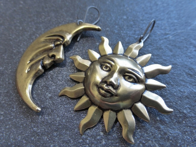 Large Asymmetrical Antique Gold Brass Sun And Moon Hypoallergenic Earrings