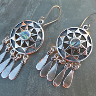 Silver Dreamcatcher Hypoallergenic Earrings With Abalone Paua Shell Inlay