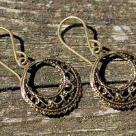 Small Antique Gold Brass Filigree Hoop Earrings With Gold Vermeil Ear Wires