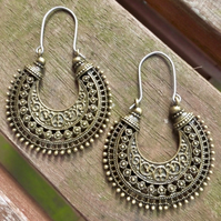 Antique Bronze Tribal Floral Hoop Earrings - Hypoallergenic Titanium Ear Wires