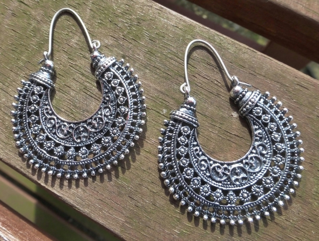 Antique Silver Tribal Hoop Statement Earrings With 925 Sterling Silver Ear Wires