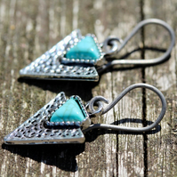 Silver Triangle Arrowhead Hypoallergenic Titanium Earrings With Turquoise Inlay