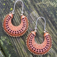 Rusty Bohemian Orange & Red Colour Washed Tribal Hypoallergenic Earrings
