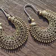Antique Gold Boho Tribal Earrings With Hypoallergenic Titanium Ear Wires
