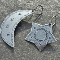 Asymmetrical Silver Etched Moon And Star Earrings With Titanium Ear Wires