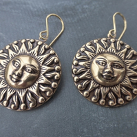 Antique Gold Brass Aztec Tribal Sun Earrings With Gold Vermeil Ear Wires