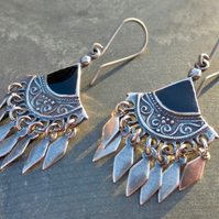 Antique Silver Ethnic Gypsy Boho Chandelier Drop Earrings With Jet Black Inlay