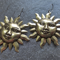 Large Antique Gold Brass Tribal Sun Earrings With Titanium Ear Wires