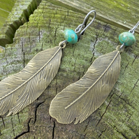Long Antique Bronze Feather Earrings With Rustic Turquoise Czech Glass Beads