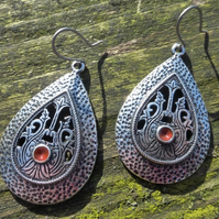 Silver Ethnic Moroccan Boho Teardrop Hypoallergenic Earrings With Red Enamel