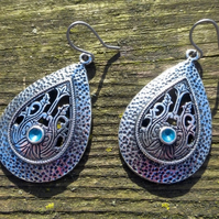 Silver Ethnic Moroccan Style Teardrop Boho Earrings With Turquoise Blue Enamel