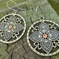 Large Bronze Flower Mandala Boho Statement Earrings With Orange Enamelled Centre