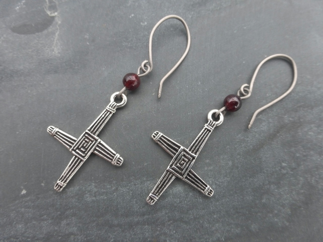 Fire At Imbolc - Silver St Brigids Cross And Garnet Earrings