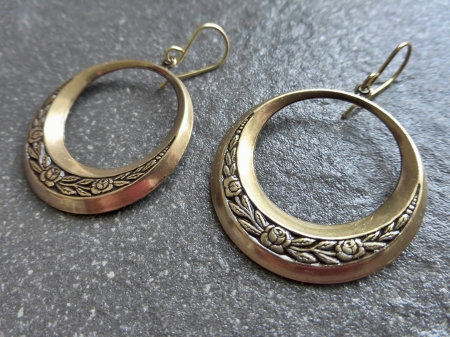 Antique Gold Brass Floral Gypsy Hoop Earrings With Gold Vermeil Ear Wires