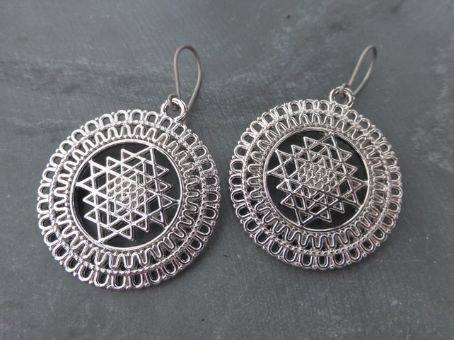 Large Silver Sri Yantra Tribal Earrings With Hypoallergenic Titanium Ear Wires