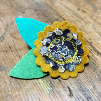 Mustard yellow felt brooch - grey and yellow with Liberty fabric centre