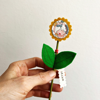 Felt flower decoration - mustard flower decoration with Liberty fabric - bloom