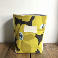 Fabric storage basket - modern floral storage basket - knitting bag