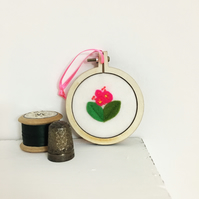 Hot pink felt flower hoop art - mini embroidery hoop art - bright neon pink