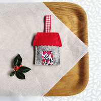 Handstitched felt house with liberty fabric door and gingham ribbon hanger