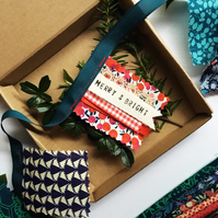 Liberty fabric Christmas bunting with secret message 'MERRY & BRIGHT'