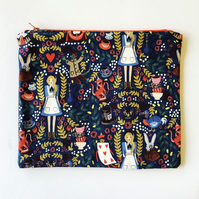 Zippered pouch with Alice in Wonderland print - make up bag or mini project bag