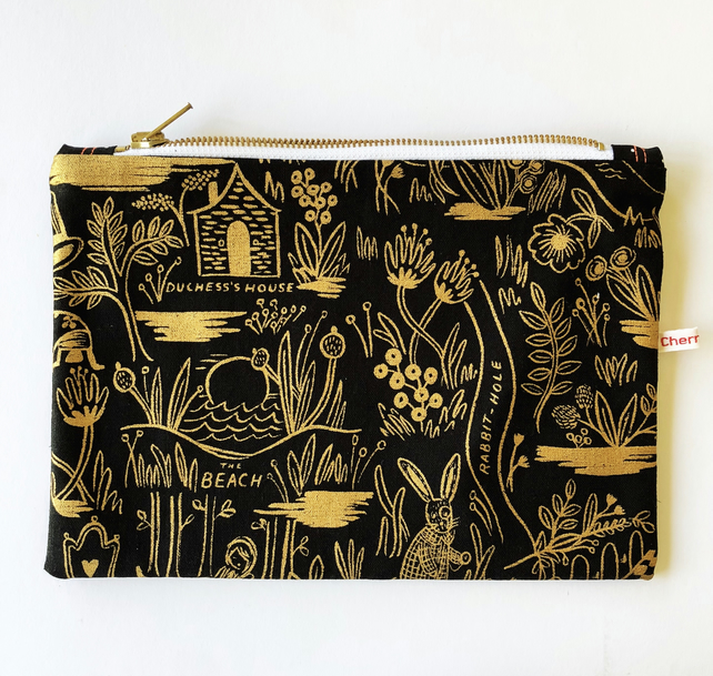 Black and gold Alice in Wonderland themed pouch - makeup bag or mini project bag