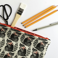 Black, white and red raccoon print pouch - Pencil case or mini project bag