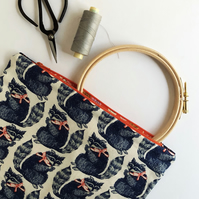 Navy, white and red raccoon print pouch - Pencil case or mini project bag