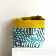 Fabric storage basket - turquoise storage - storage bin