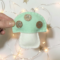 Felt Christmas toadstool decoration with gold glitter spots