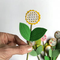 Felt flower decoration - sunshine yellow flower decoration with polka dot centre