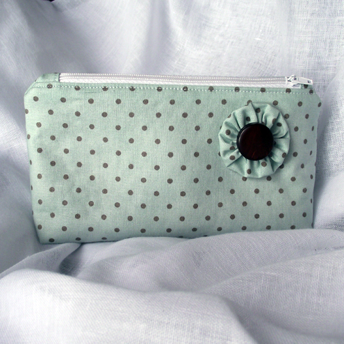 Reserved for Jane - Mint & Chocolate Polka Dot Make-up/Toiletry Bag