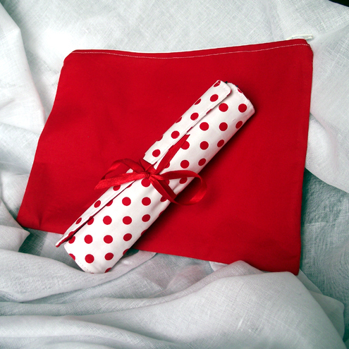 Red & White Pencil Roll & Drawings Bag