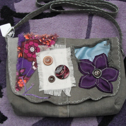 OOAK Khaki Denim  Patchwork 'Upcycled' Shabby Chiq Boho Bag Medium