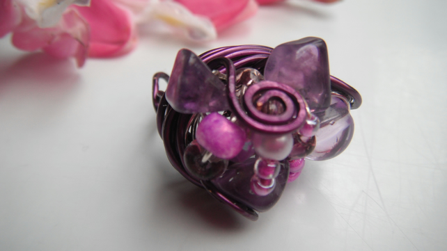 Amethyst Cluster Nest Ring - Purple Plated Copper