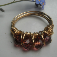 Light Amethyst Faceted Crystal Wire Wrap Ring - Gold Tone Wire